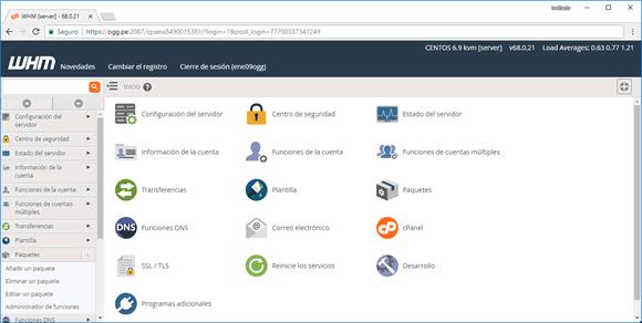hosting reseller pantalla inicial