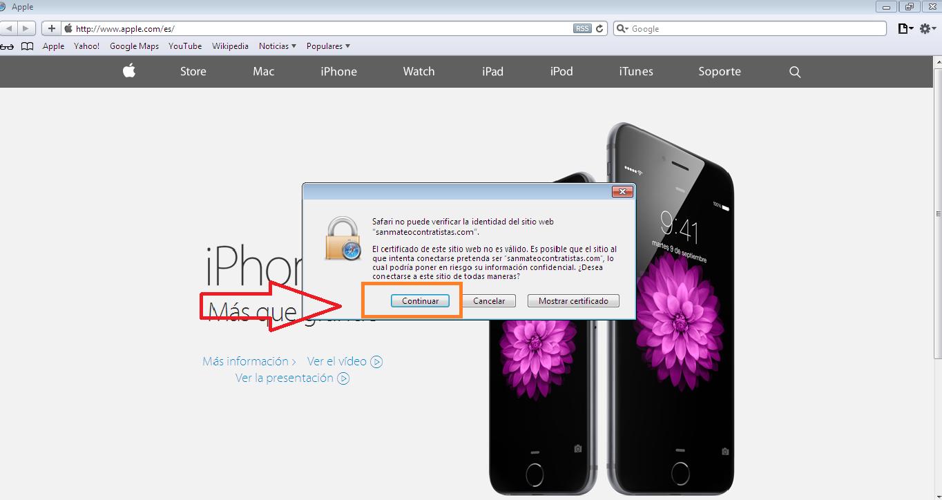 Acceso a cpanel en navegador Safari