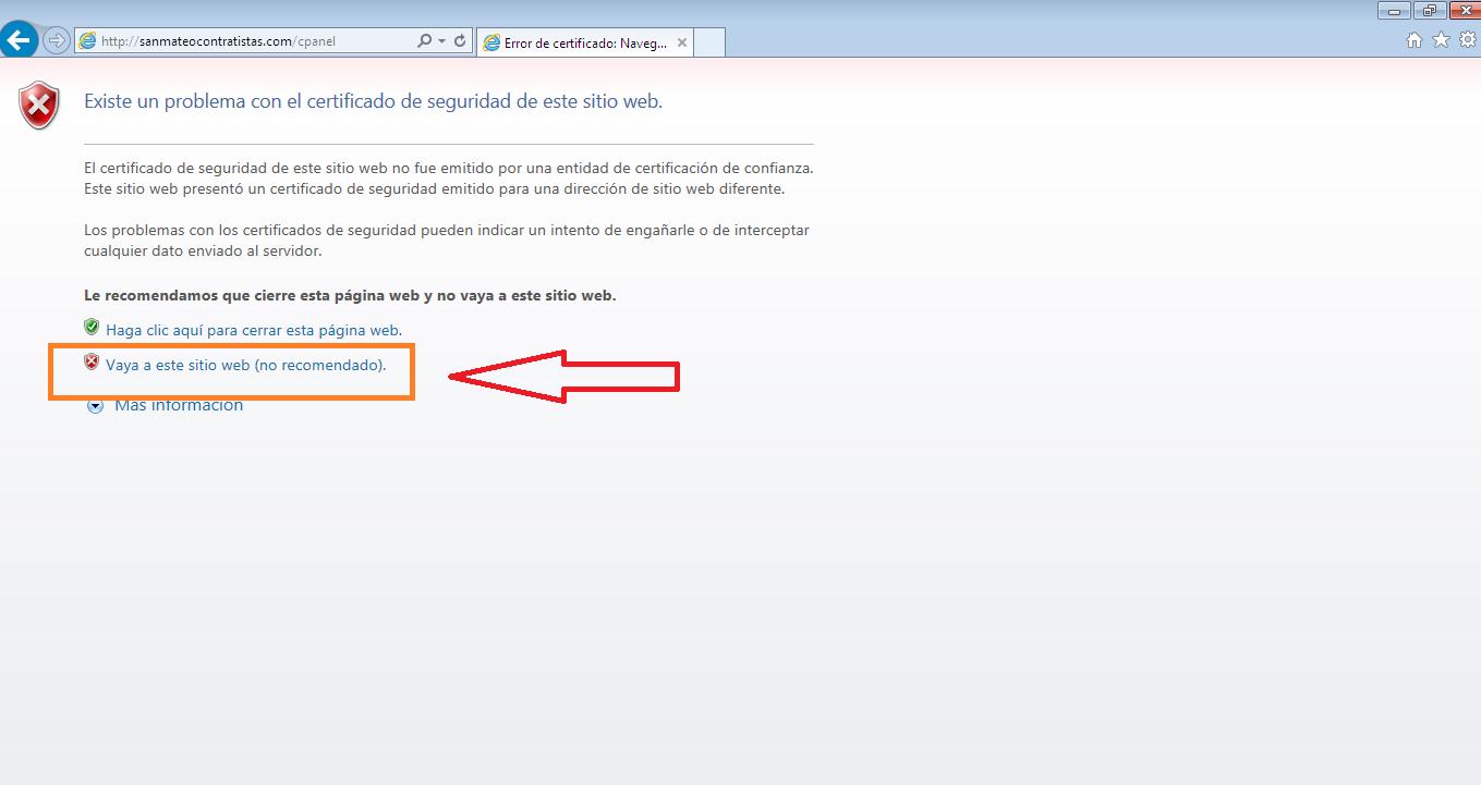 Acceso a cpanel en navegador explorer 1