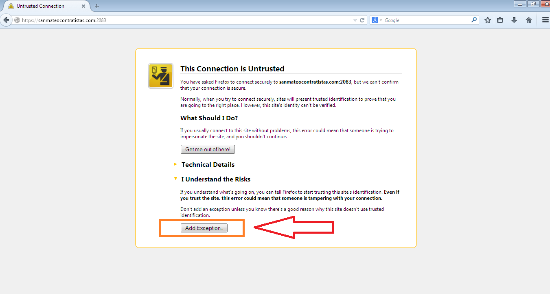 Acceso a cpanel en navegador Mozilla Firefox 2