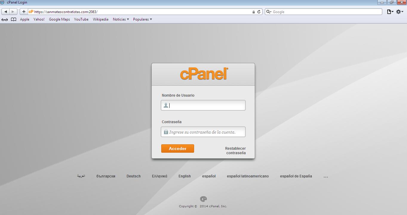 Acceso a cpanel en navegador Safari peru