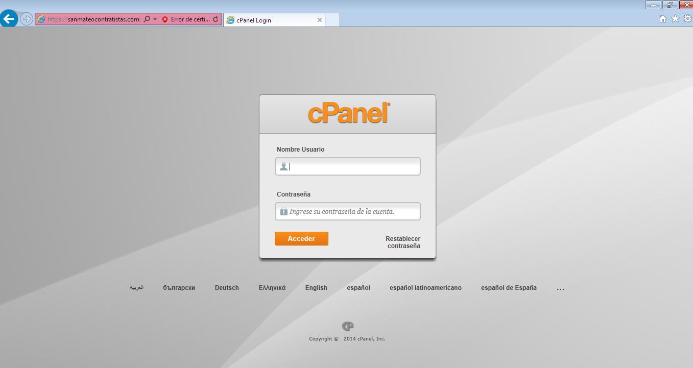 Acceso a cpanel en navegador explorer 2