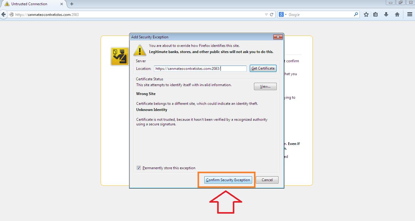 Acceso a cpanel en navegador Mozilla Firefox 3