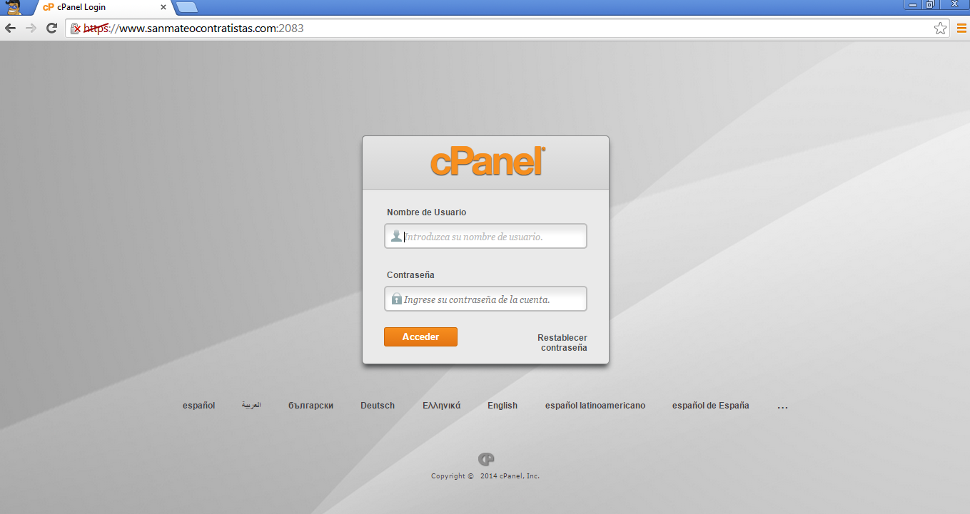 acceso-cpanel-chrome host