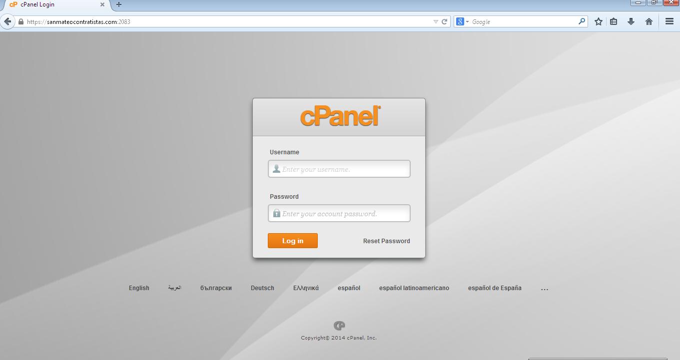 Acceso a cpanel en navegador Mozilla Firefox 4