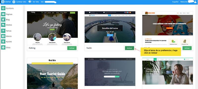 crear pagina web y activar