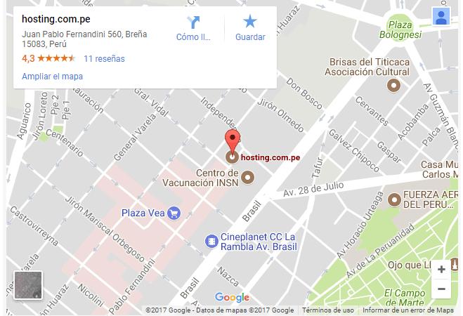 hosting peru google map